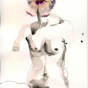 Flower Folk 2, ink and blossom, 20x30cm, 2011