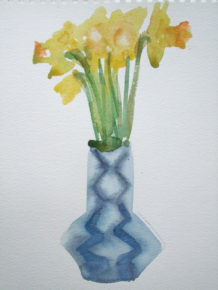 Daffs in a Blue Vase, Watercolour, 30 x20cm,2013