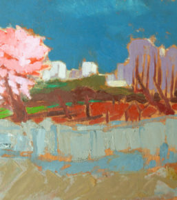 Cherry blossom and buildings, Berlin, oil on board,35 x 40cm, 2000