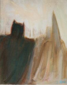 Saw Batman walking with the Klu Klux Klan,oil on linen,2014