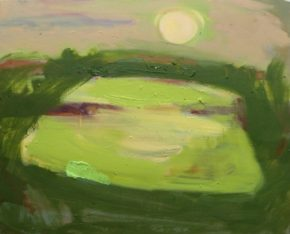 And the Moon rose over an open field. oil on canvas ,50 x60cm,2017